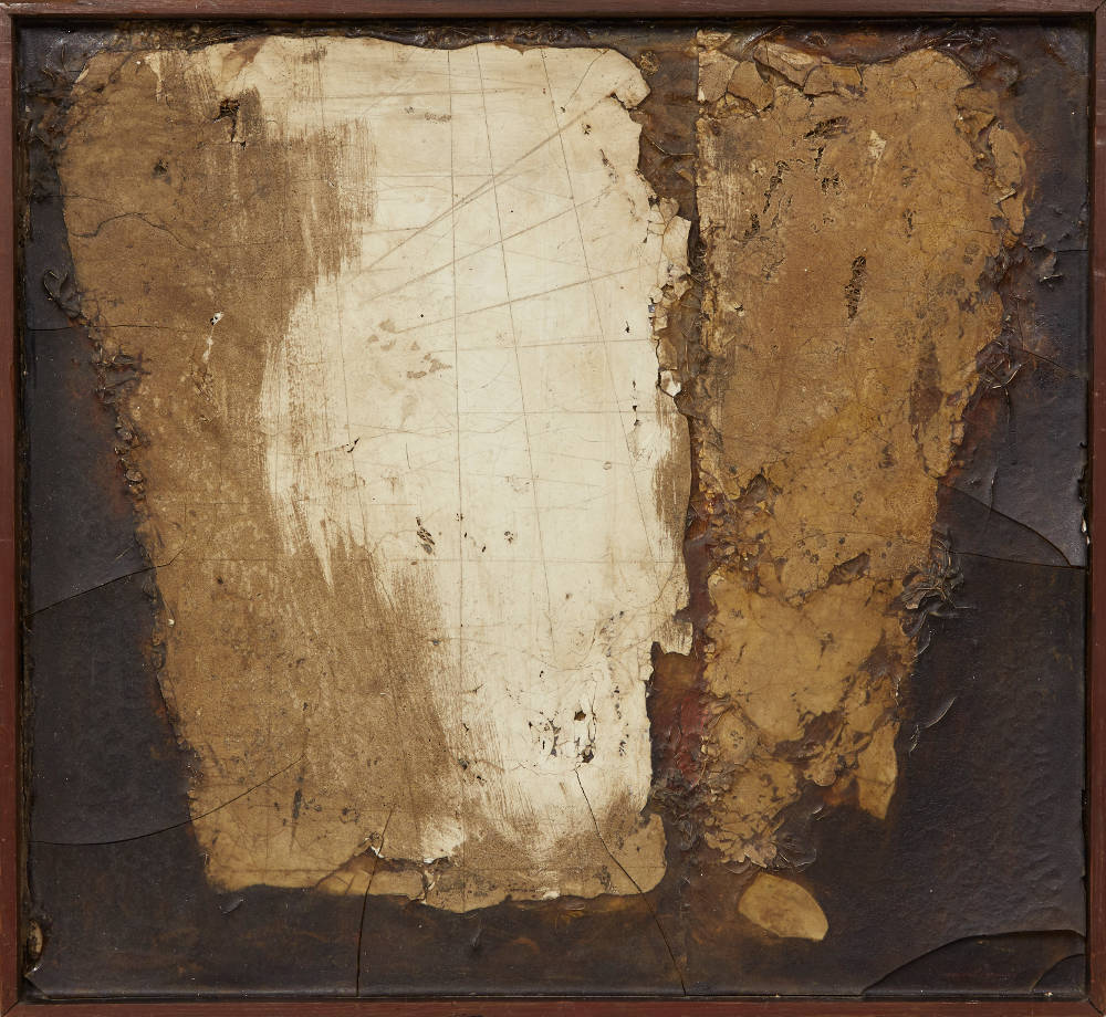 ROBERT MALLARY, Suspended forms, 1957. Mixed media: Found materials and resin with an artist made wooden frame 18 x 19 1/2 x 2 1/2 in 45.8 x 49.5 x 6.4 cm