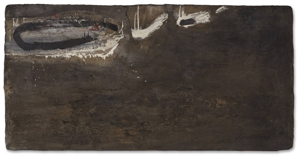 ROBERT MALLARY, Untitled, 1957-1958. Mixed media: Found materials, resin mix and pigment on wooden board 36 1/2 x 70 3/4 x 1 1/4 in 92.8 x 179.7 x 3.2 cm
