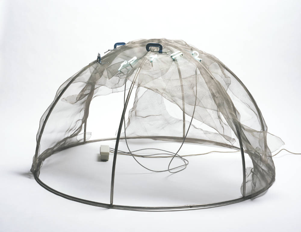 Mario Merz, Igloo, 1971, Steel tubes, neon tubing, wire mesh, transformer, and C-clamps, 39 3/8 x 78 ¾ x 78 ¾ inches (100 x 200 x 200 cm). Collection Walker Art Center, Minneapolis, T.B. Walker Acquisition Fund, 2001