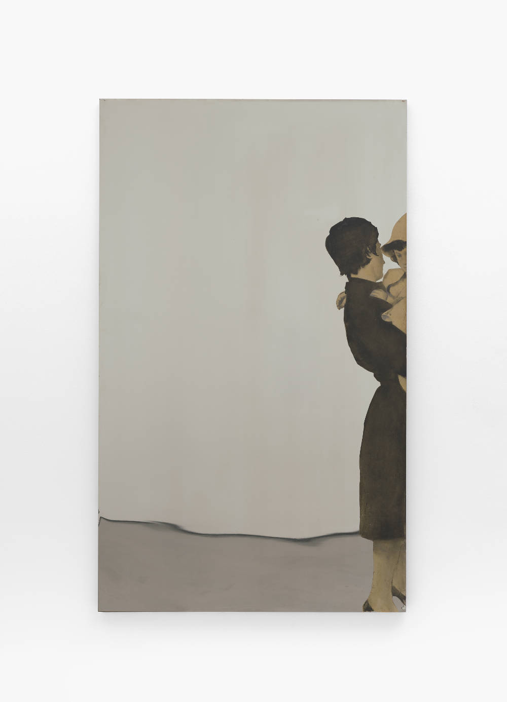 Michelangelo Pistoletto, Marzia con la bambina, 1964, Painted tissue paper on stainless steel, 78 13/16 x 47 1/4 inches (200.2 x 120 cm). © Michelangelo Pistoletto; Courtesy of the artist, Luhring Augustine, New York, Galleria Christian Stein, Milan, and Simon Lee Gallery, London / Hong Kong