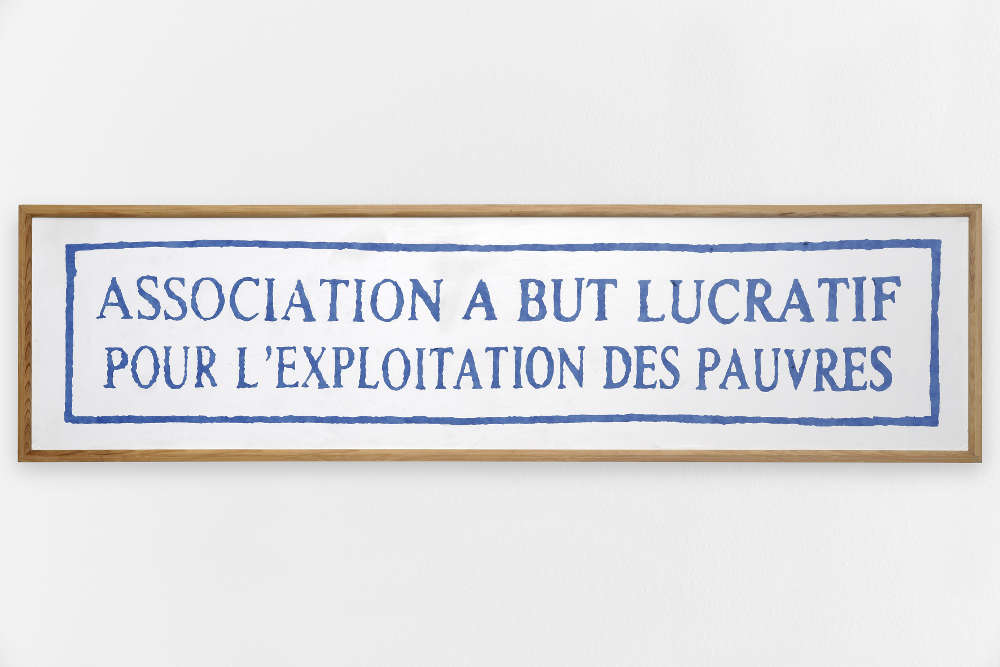 Taroop & Glabel, Association à but lucratif, 2002. Vénalyne on plywood 19.7 x 59 in. / 50 x 150 cm