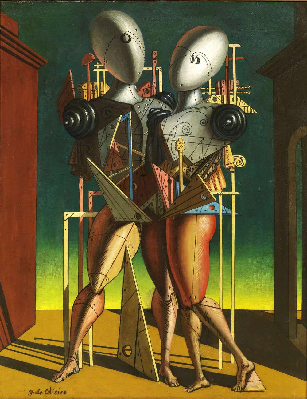 Giorgio de Chirico, Ettore e Andromaca, 1950. Oil on canvas, 90 x 70 cm. Courtesy Tornabuoni Art