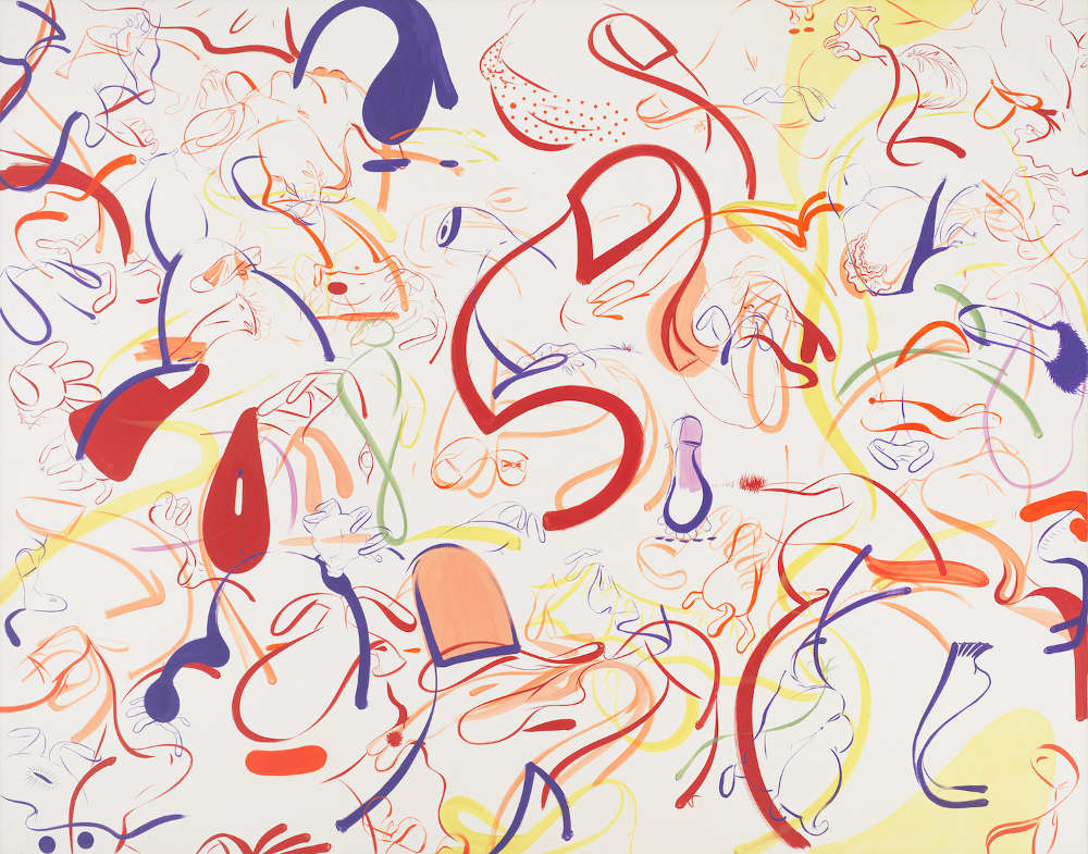 Sue Williams, Big Red Shoes, 1998, oil and acrylic on canvas, 82 x 104 inches (208.3 x 264.2 cm), Courtesy of the artist, 303 Gallery and Skarstedt
