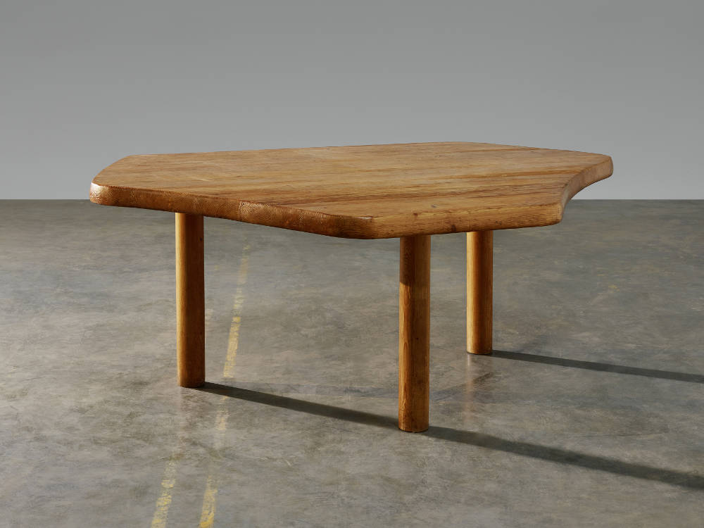 Charlotte Perriand, Table à six pans (Six-sided table), c. 1949. Pine tree 28 x 72 7/8 x 50 3/8 in | 71 x 185 x 128 cm ©Marie Clérin/Laffanour Galerie Downtown Paris.