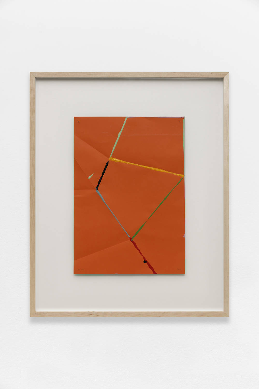 Beat Zoderer, Fold & Dip, 2016. Acrylic on folded paper 41 x 29 cm. Framed : 65 x 53 cm. Courtesy Semiose galerie, Paris. Photo : A. Mole