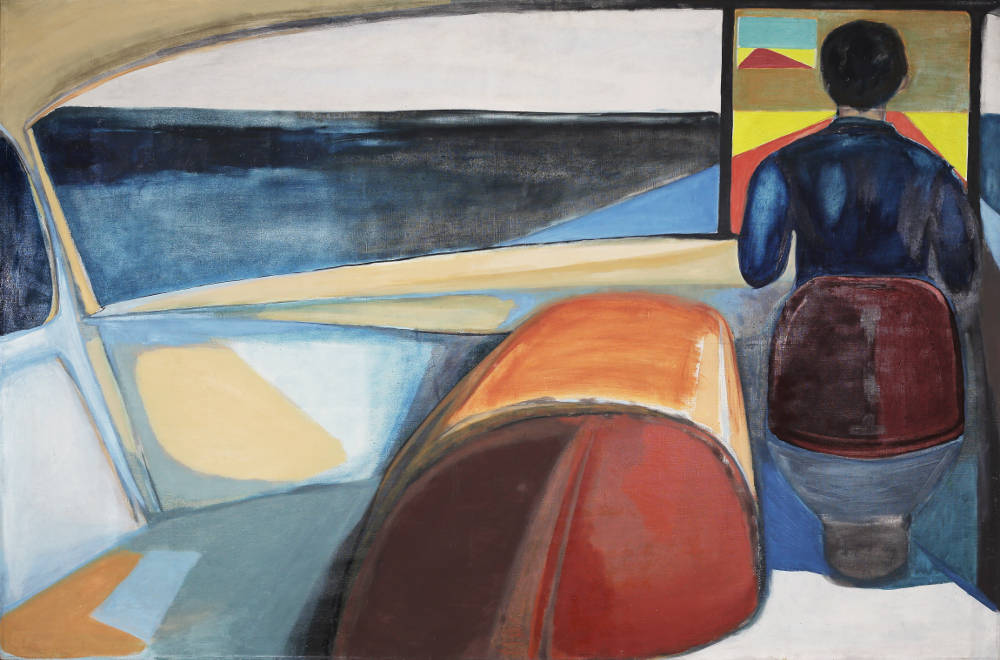 Andrzej Wróblewski, Chauffer, 1956. Oil and pencil on canvas 132 x 200.5 cm. Private Collection ©Andrzej Wróblewski Foundation