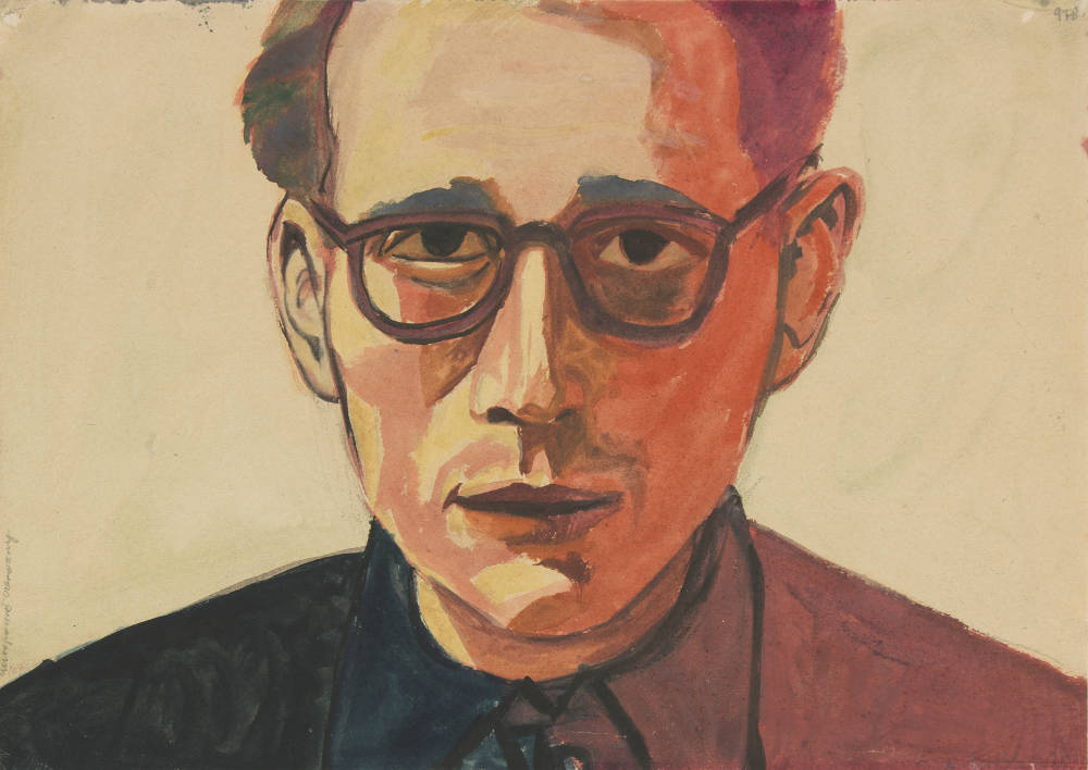 Andrzej Wróblewski, (Self-Portrait in Red), Undated. Watercolour and gouache on paper 29.5 × 41.7 cm. Private Collection ©Andrzej Wróblewski Foundation