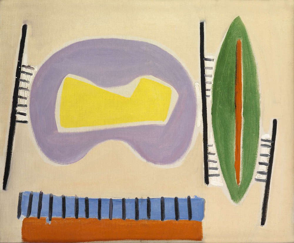 Caziel (1906-1988), WC210 - Composition #35, c.1950. Signed with studio stamp verso. Oil on canvas 48 x 63 cm