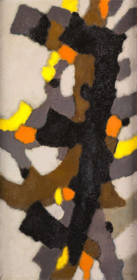 William Gear (1915-1997), Vertical Motif, 1959. Signed and dated lower right. Signed, dated ''Sep. ''59'' and titled verso. Oil on canvas 91 x 46 cm