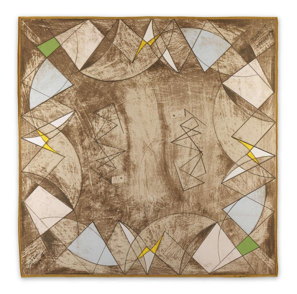 Barbara Hepworth (1903-1975), Landscape Sculpture, 1947. Artist's signature lower left. Ascher's signature lower right. Titled upper right. Ed. 175 / 3 AP. Screenprint on silk 90 x 90 cm