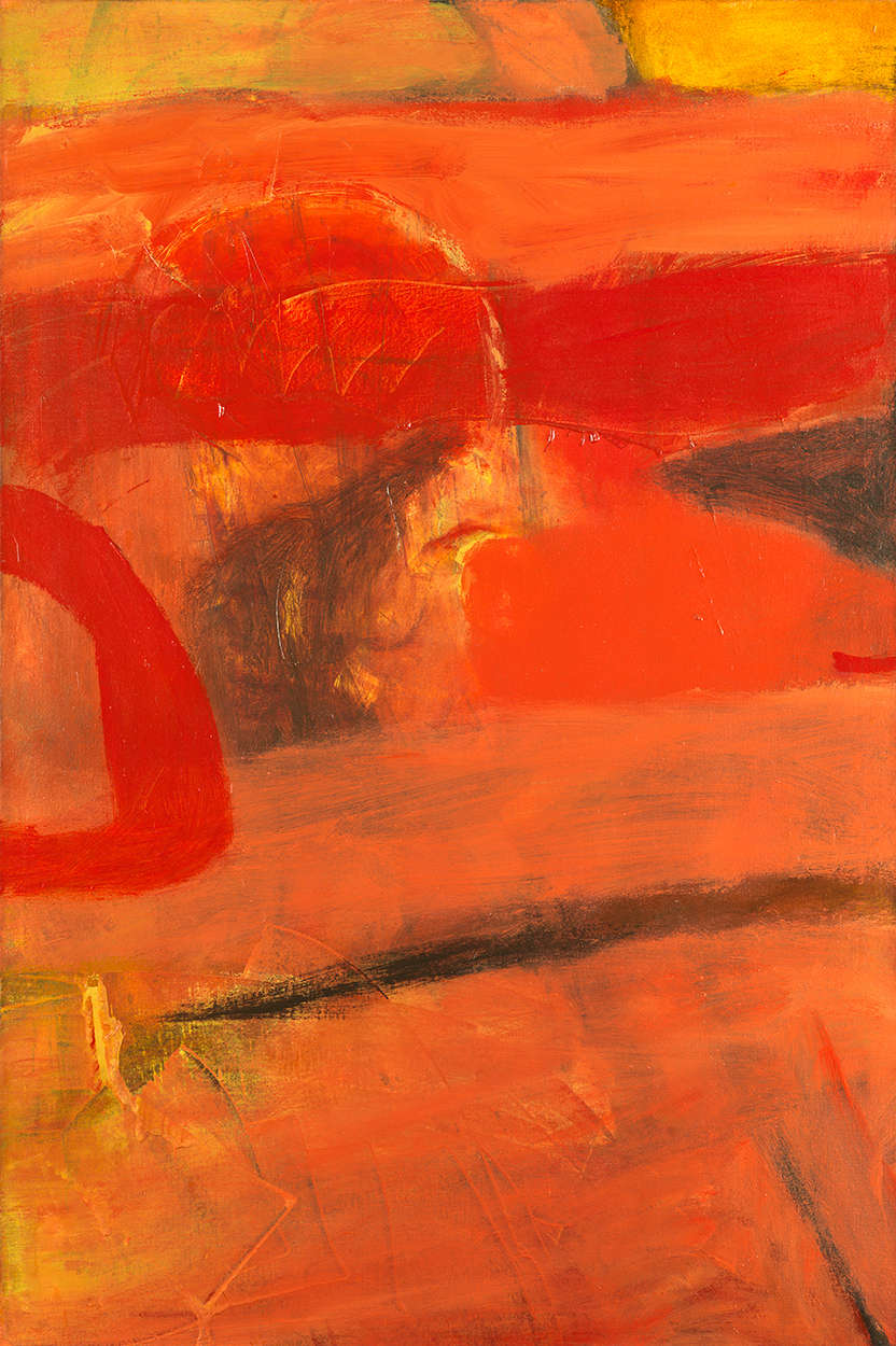 Albert Irvin RA, Echoing Red, c.1965. Signed and titled verso. Irvin Estate Inventory number GF16522. Oil on canvas 122.5 x 81.5 cm