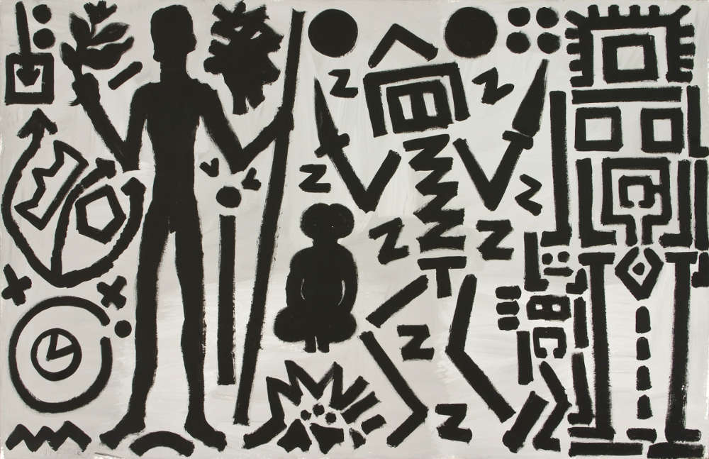 """A.R. Penck, """"Welt des Adlers IV (World of the Eagle IV)"""", 1981. Acrylic on canvas 70 3/4 x 110 1/4 inches 180 x 280 cm"""