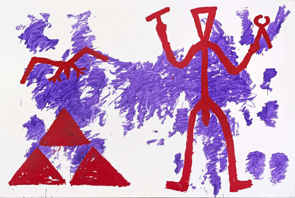 """A.R. Penck, """"Zeichen der Realität-Realität der Zeichen (Sign of Reality – Reality of Signs)"""", 1981. Oil on canvas 78 3/4 x 118 inches 200 x 300 cm"""