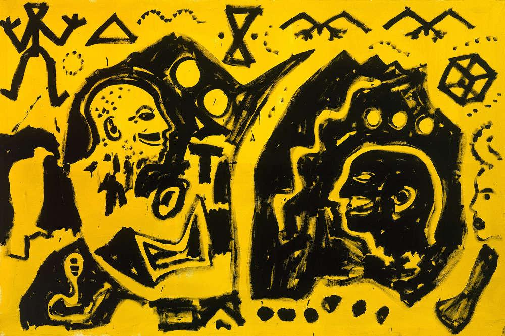 "A.R. Penck, ""Portrait of Markus"", 1982. Acrylic on canvas 78 3/4 x 118 inches 200 x 300 cm"