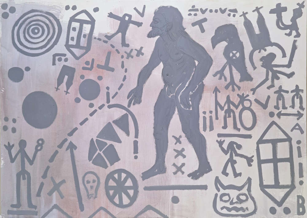 """A.R. Penck, """"Zweite Begegnung des Nordens (Second Encounter of the North)"""", 1983. Acrylic on canvas 78 3/4 x 118 inches 200 x 300 cm"""