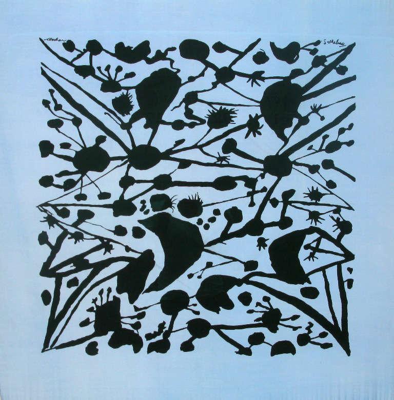 Graham Sutherland (1903-1980), Black Trellis, 1947. Artist's signature upper right. Ascher's signature upper left. Screenprint on silk 90 x 90 cm