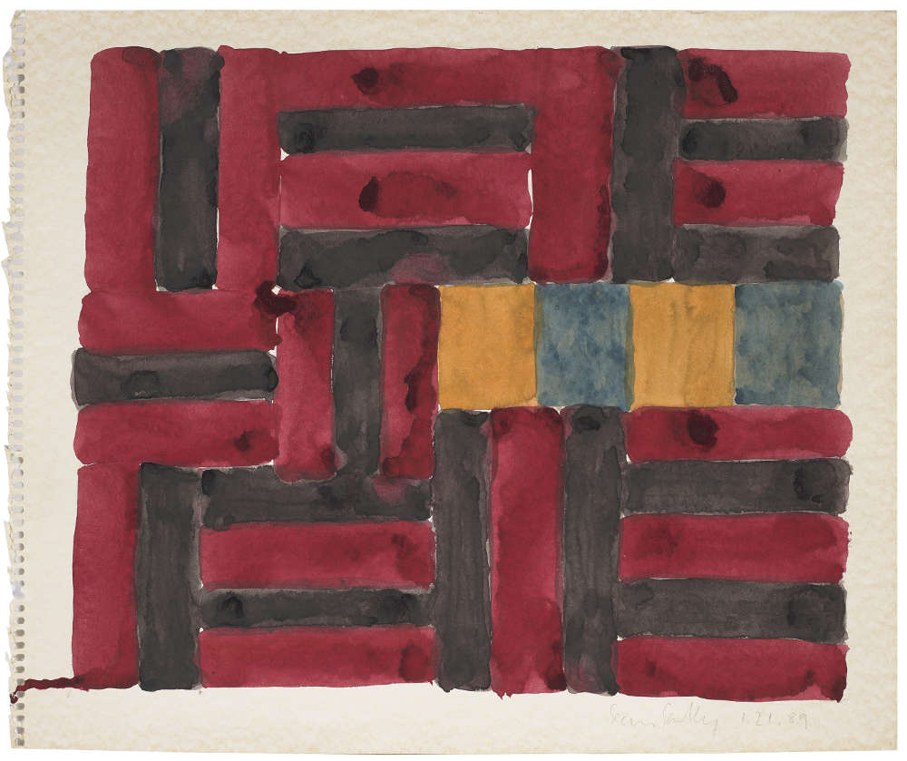 Sean Scully, 1.21.89, 1989. Watercolor on paper 15 x 18 inches (38.1 x 45.7 cm) Artwork © 1989 Sean Scully