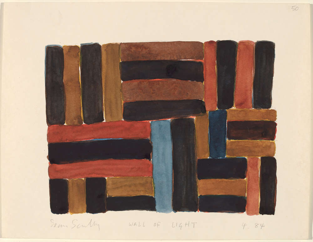 Sean Scully, Wall of Light 4.84, 1984. Watercolor over graphite on wove paper 9 x 12 inches (22.9 x 30.5 cm) National Gallery of Art, Washington. Artwork © 1984 Sean Scully