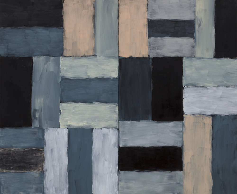 Sean Scully, Wall of Light Desert Night, 1999. Oil on linen 108 x 132 inches (274.3 x 335.3 cm) Modern Art Museum of Fort Worth, museum purchase. Artwork © 1999 Sean Scully