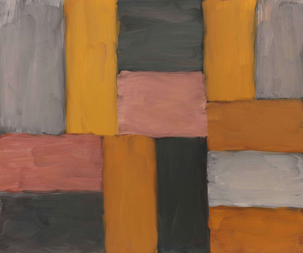 Sean Scully, Wall of Light Pink Yellow, 2011. Oil on canvas 50 1/4 x 60 inches (127.63 x 152.4 cm) Artwork © 2011 Sean Scully
