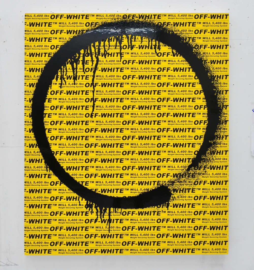Takashi Murakami and Virgil Abloh, Kyoto Ensō, 2018. Acrylic on canvas mounted on aluminum frame 55 1/2 × 47 1/4 × 2 inches (141 × 120 × 5 cm) ©︎ Virgil Abloh and ©︎ Takashi Murakami