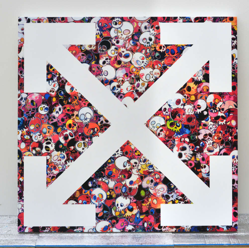 Takashi Murakami and Virgil Abloh, Our Spot 1, 2018. Acrylic on canvas mounted on aluminum frame 39 3/8 × 39 3/8 × 2 inches (100 × 100 × 5 cm) ©︎ Virgil Abloh and ©︎ Takashi Murakami