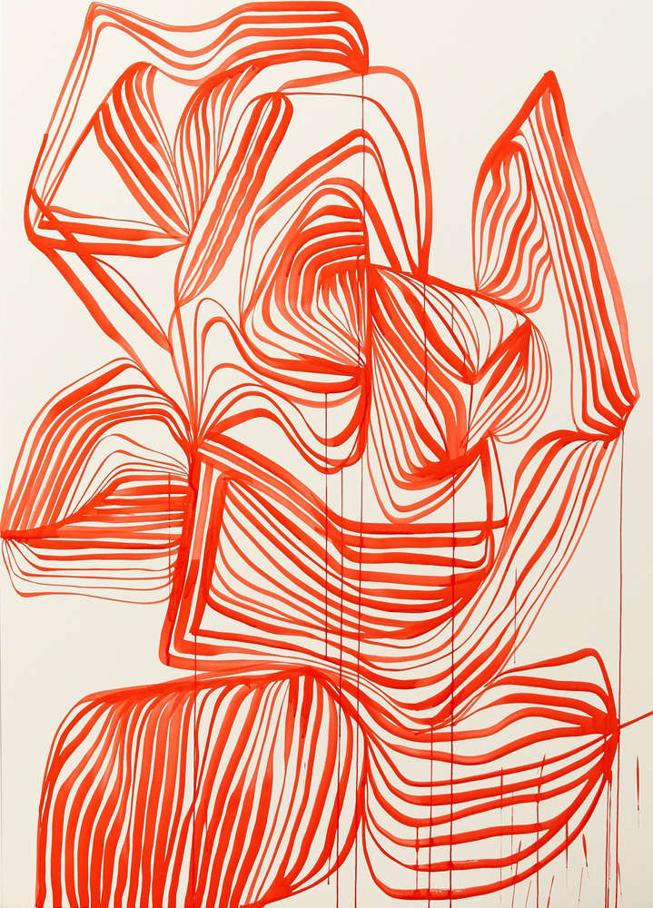 TANYA LING, Line Painting (04197), 2018. Dr. Ph, Martin's Fine Art Watercolor Ink (3H Brilliant Cad Red) on White Somerset Satin 1425 x 1025 mm. Framed: 1484 x 1084 x 50 mm.