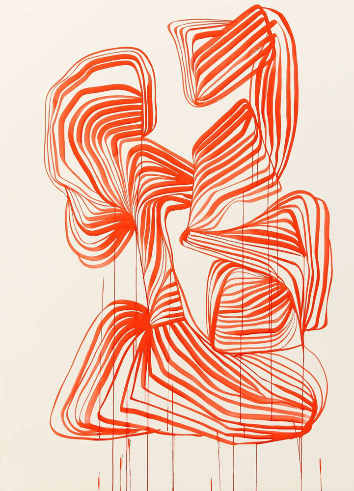 TANYA LING, Line Painting (04199), 2018. Dr. Ph, Martin's Fine Art Watercolor Ink (3H Brilliant Cad Red) on White Somerset Satin 1425 x 1025 mm. Framed: 1484 x 1084 x 50 mm.
