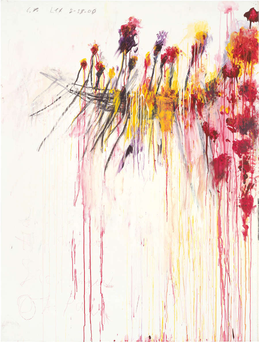 CY TWOMBLY, Coronation of Sesostris (Part V), 2000. Acrylic, wax crayon, and lead pencil on canvas 81 x 61 1/2 inches / (206 x 156.5 cm) © Cy Twombly Foundation. Photo by Rob McKeever. Courtesy Gagosian