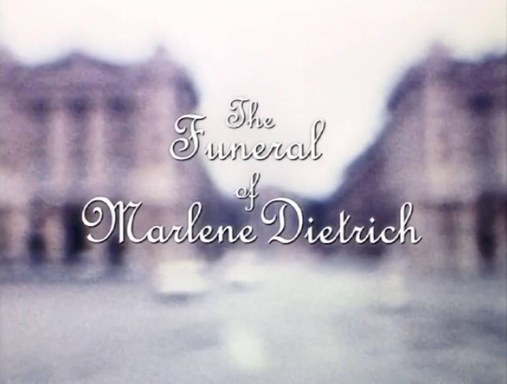 """TJ Wilcox, Das Begräbnis der Marlene Dietrich/The Funeral of Marlene Dietrich, 1999. Transferred from 16mm to digital video 12'10"""" 1/2 AP"""