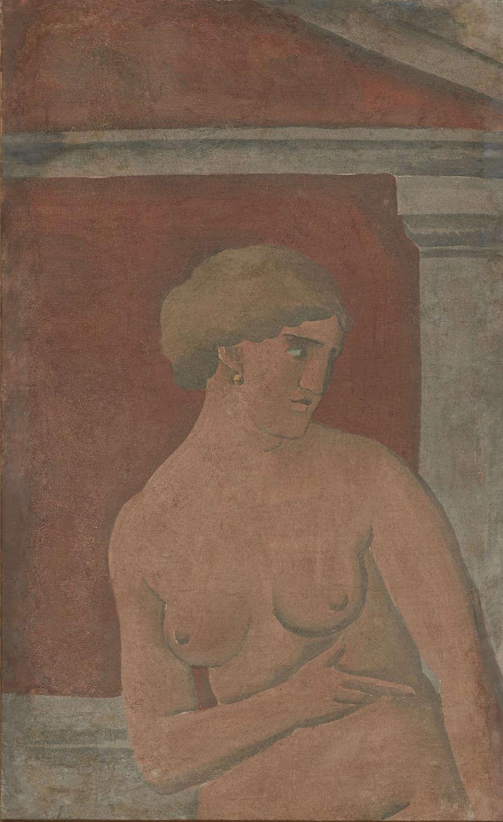 Joaquín Torres-García, Desnudo de mujer con frontón [Nude Woman with Pediment], 1926. Tempera on canvas, 47 x 29 inches (119.4 x 73.7 cm)