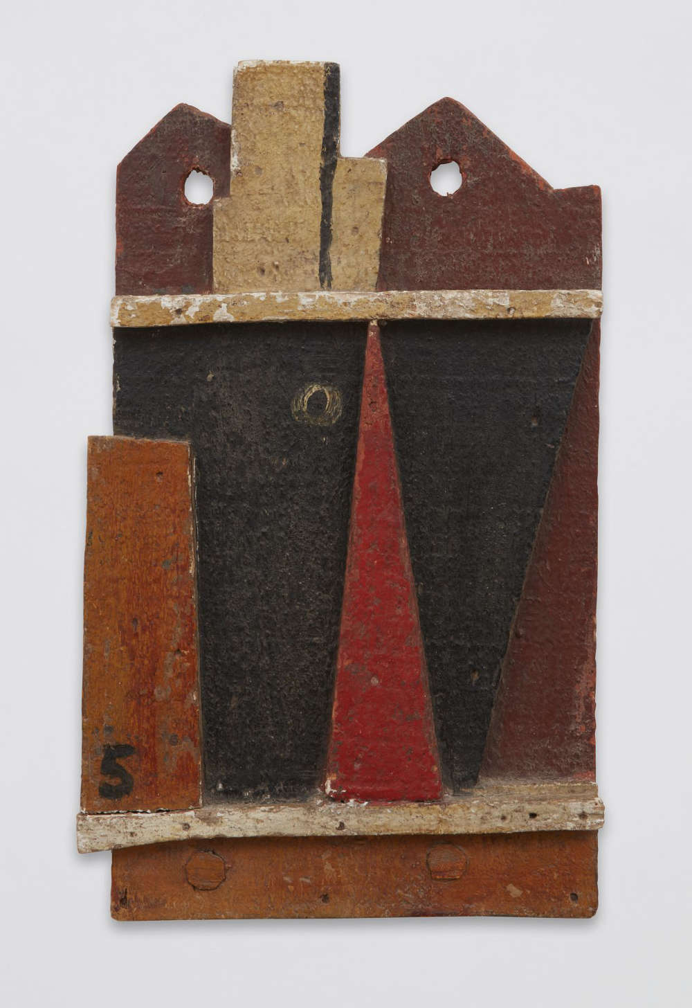 Joaquín Torres-García, Objet plastique (Barco abstracto) [Plastic Object (Abstract Ship)], 1928. Oil on wood, 15 5/8 x 9 1/2 x 1 1/2 inches (39.7 x 24.1 x 3.8 cm)