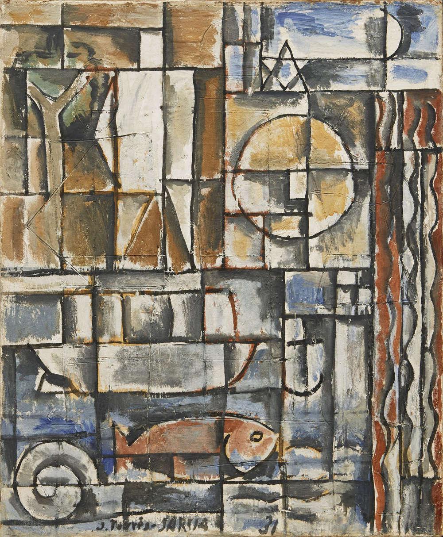 Joaquín Torres-García, Constructif avec homme blanc [Constructive Composition with White Man], 1931. Tempera on canvas, 28 13/16 x 23 15/16 inches (73.2 x 60.8 cm)