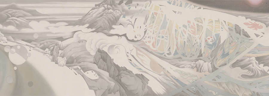 HAO LIANG, Streams and Mountains without End, (detail), 2017. Ink and color on silk 16 3/4 x 394 1/8 inches / (42.4 x 1004 cm) © Hao Liang. Courtesy Gagosian