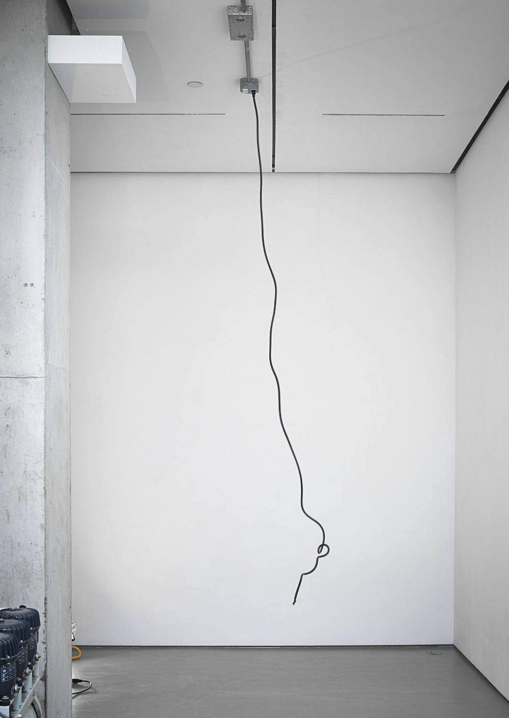 Sean Shim-Boyle, Beanstalk, 2018. EMT conduit, compressor and rubber tube
