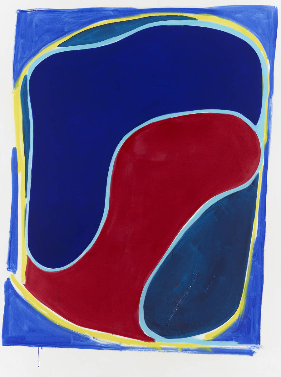 Sadie Laska, Untitled - Pepsi Shape, 2017. Oil, acrylic, spray paint on canvas 2438 x 1829mm © Sadie Laska. Courtesy Newport Street Gallery