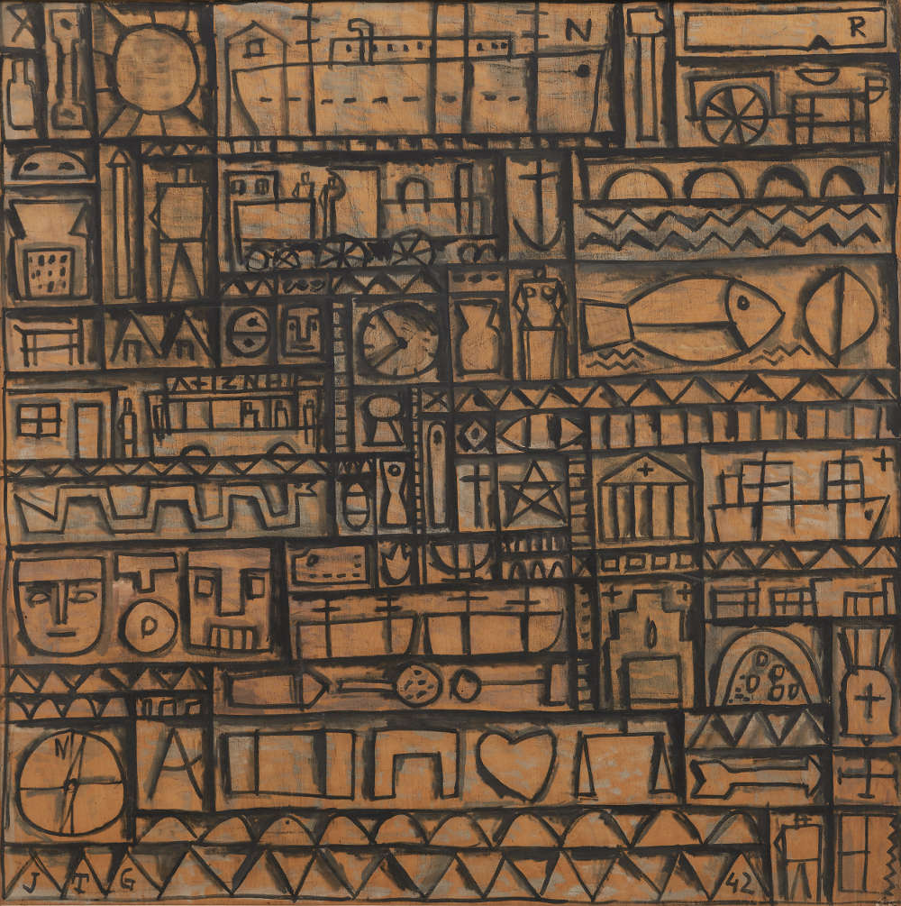 Joaquín Torres-García, Arte constructivo universal [Universal Constructive Art], 1942. Tempera on wood, 60 9/16 x 60 1/2 inches (153.8 x 153.7 cm)