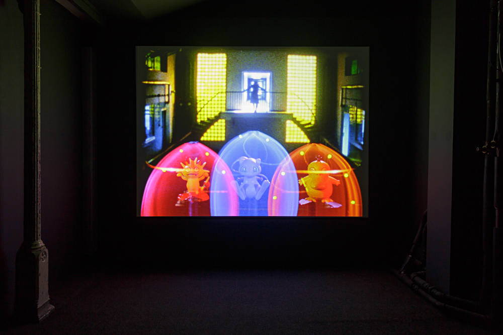 Ericka Beckman, Switch Center, 2003. 16mm transferred to HD video, colour, sound, 11'06 mins. Installation view, Zabludowicz Collection, London, 2018. © The artist, courtesy Zabludowicz Collection. Photo: Tim Bowditch