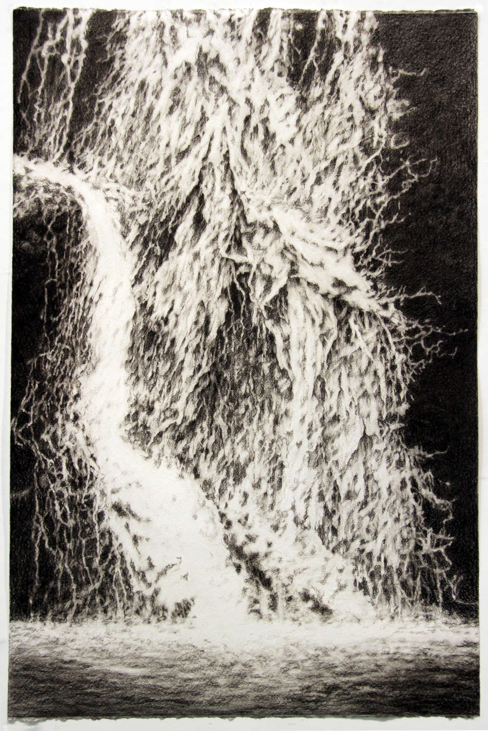 Andrew Browne,  Study for Spill #4, 2018. Charcoal on paper 80.2 x 121 cm