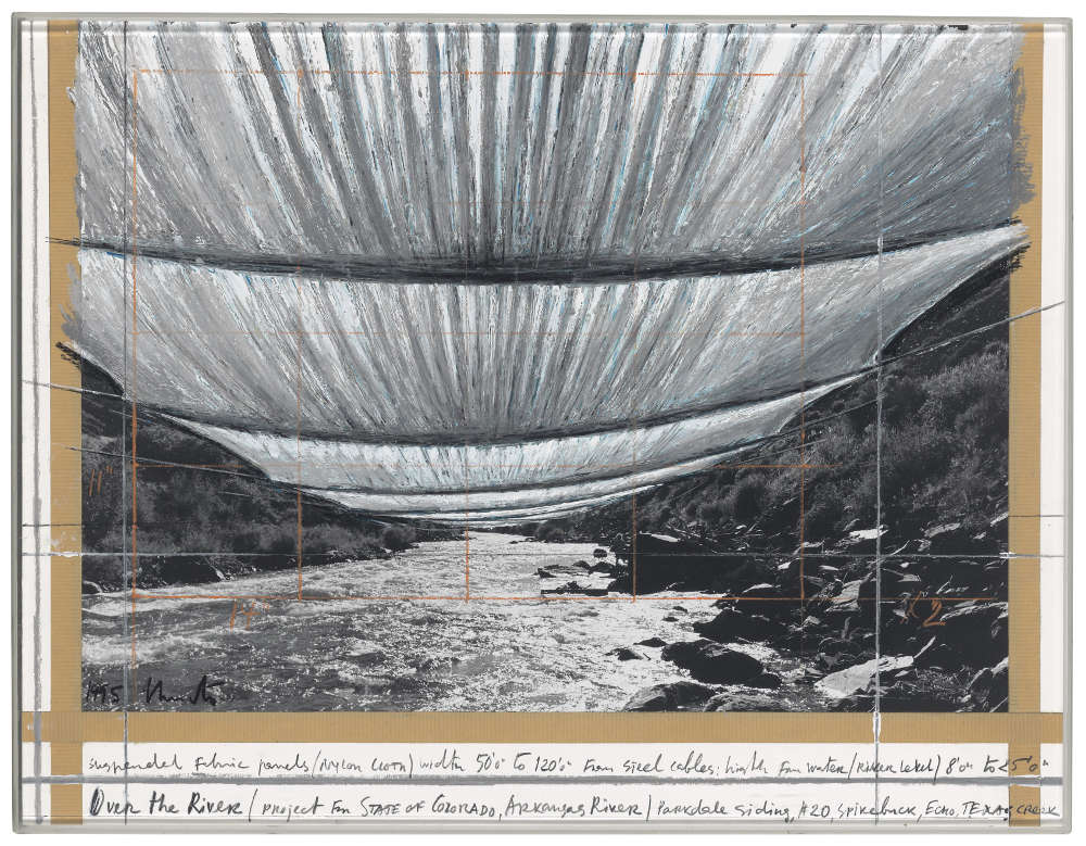 Christo, Over the River (Project for State of Colorado, Arkansas River), 1995. Graphite, enamel paint, wax crayon, tape and photograph by Wolfgang Volz on cardboard 17 x 22in. (43 x 55.9cm.) Signed, titled and dated '1995 Christo Over the River (project for STATE of COLORADO, Arkansas River)' (lower left) COA by the artist