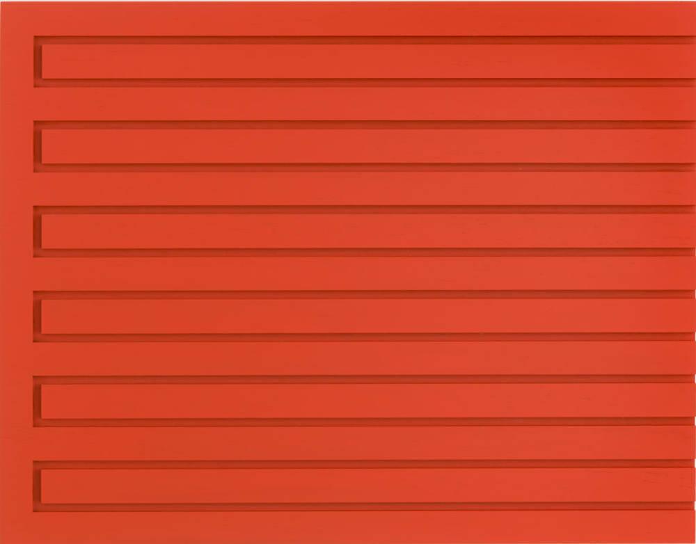 Donald Judd, Untitled, 1989, cadmium red light on wood, 16 x 20 3/4 x 2 in. (40.6 x 52.7 x 5.1 cm.) Donald Judd Art © Judd Foundation / Artists Rights Society (ARS), New York.