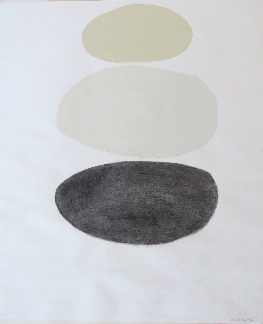 Lisbeth McCoy, Untitled I, 2016, diluted oil paint and graphite on paper, 17 x 14 inches