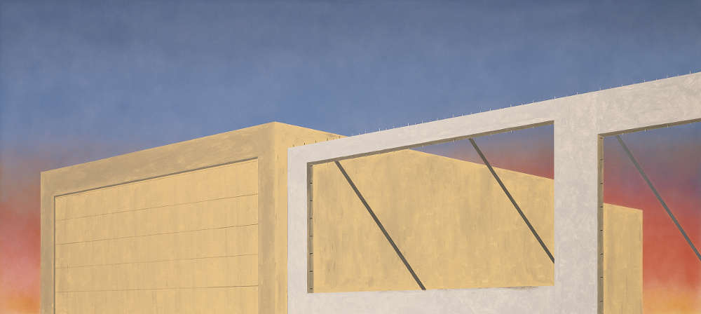 Ed Ruscha, Expansion of the Old Tires Building, 2005. 137.2 × 304.8 cm. Private collection c/o Gagosian Gallery © Ed Ruscha / photography Paul Ruscha