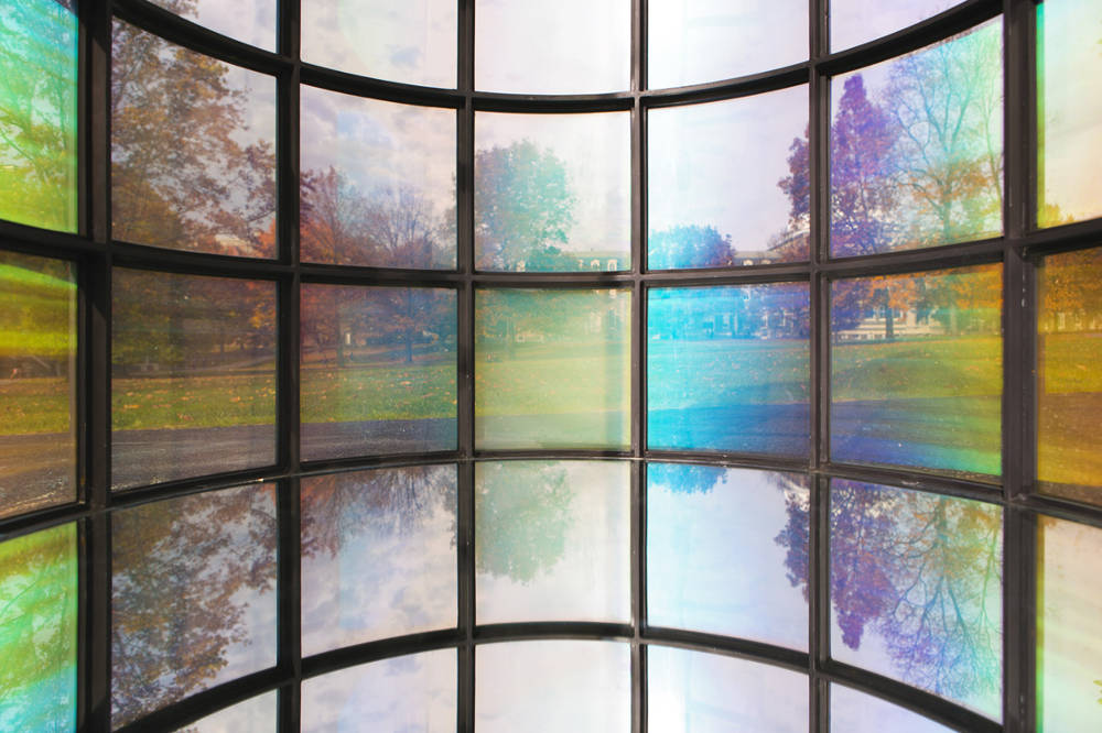 Kimsooja, A Needle Woman: <em>Galaxy Was A Memory, Earth Is A Souvenir</em>, 2014. Steel, nanopolymer laminated acrylic panel, mirror, 46' x 4.5'. Commissioned by Cornell Council for the Arts, NY, in collaboration with Stephanie Owens, Ulrich Wiesner, and Jaeho Chong. Photo by Jaeho Chong. Commissioned by Cornell Council for the Arts, Ithaca, New York. Courtesy of Cornell Council for the Arts and Axel Vervoordt Gallery © 2014 Kimsooja Studio