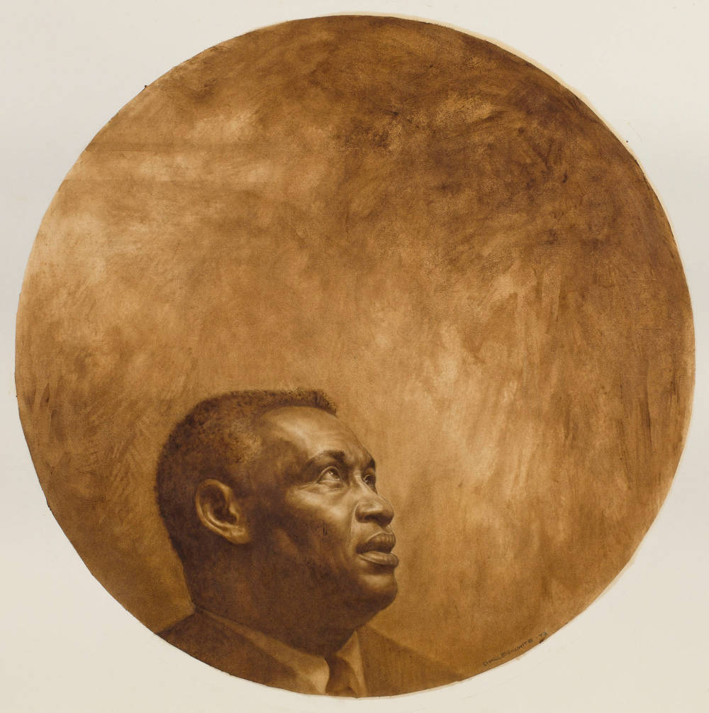 Charles White (1918-1979), Paul Robeson, 1973. Oil and graphite on illustration board 41 1/2