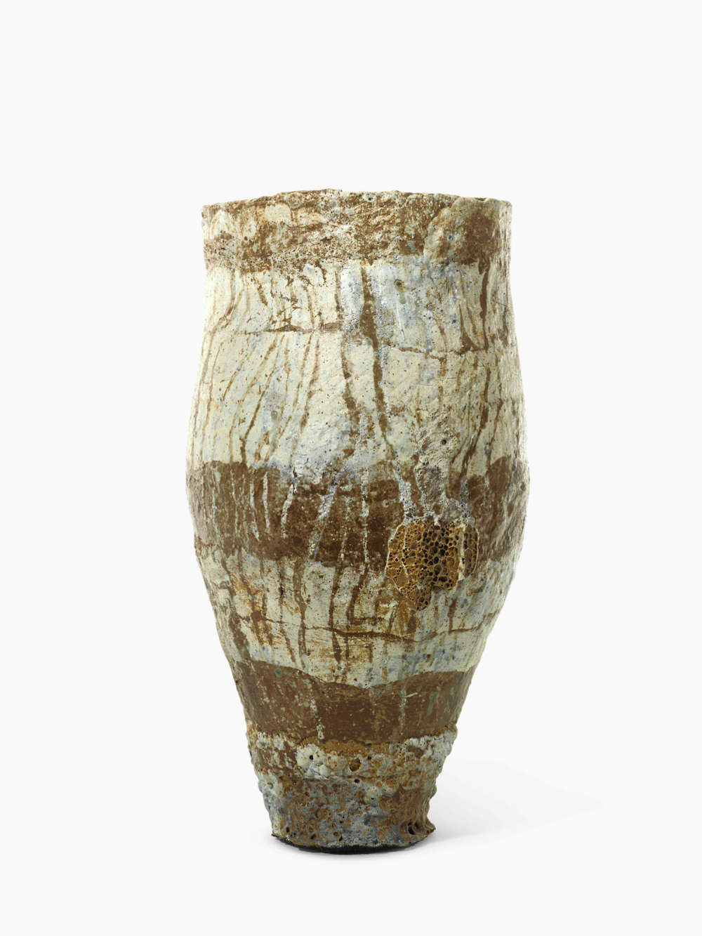 Ewen Henderson, COLLARED JAR, 1980. Mixed clay laminations with oxides and stains height: 60.6 cm. 23 7/8 in. diameter: 32.3 cm. 12 3/4 in.
