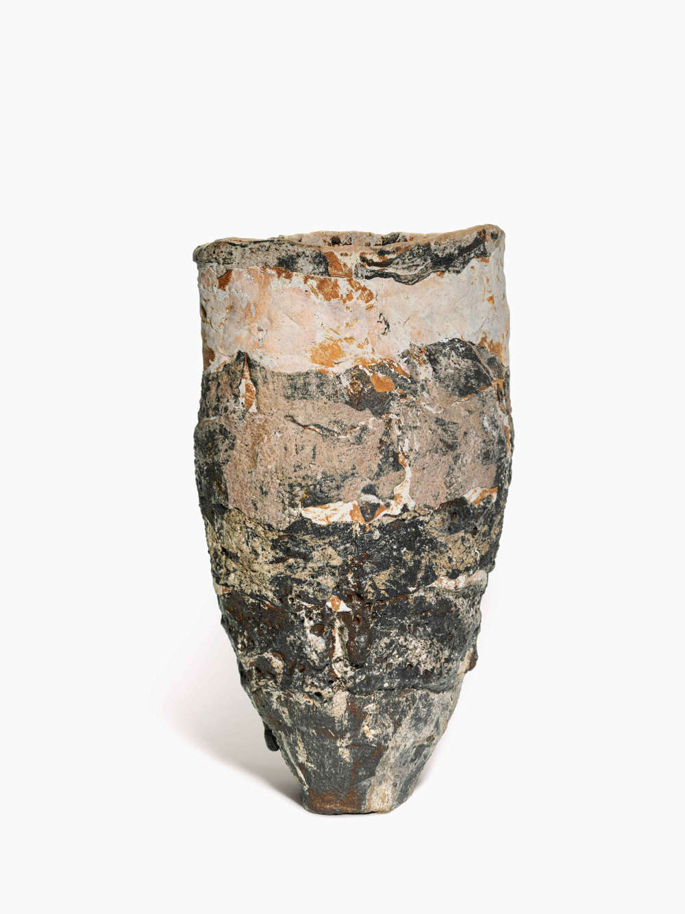 Ewen Henderson, UPRIGHT VESSEL, circa 1992. Mixed clay laminations with oxides and stains height: 51.5 cm. 20 1/4 in. diameter: 29.5 cm. 11 5/8 in.