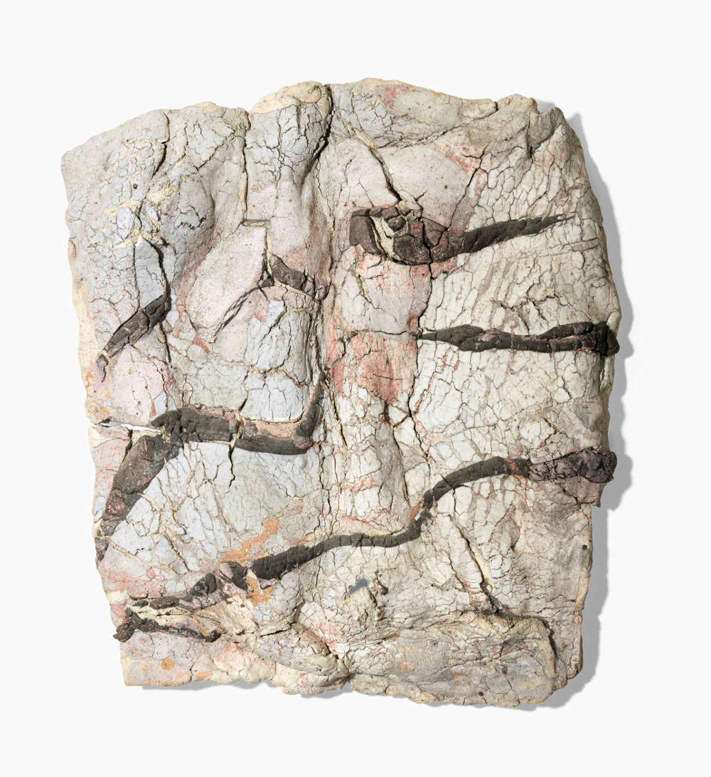 Ewen Henderson, WALLSCAPE, circa 1997. Mixed clay laminations with oxides and stains 44 by 39 by 7 cm. 17 3/8 by 15 3/8 by 2 3/4 in.