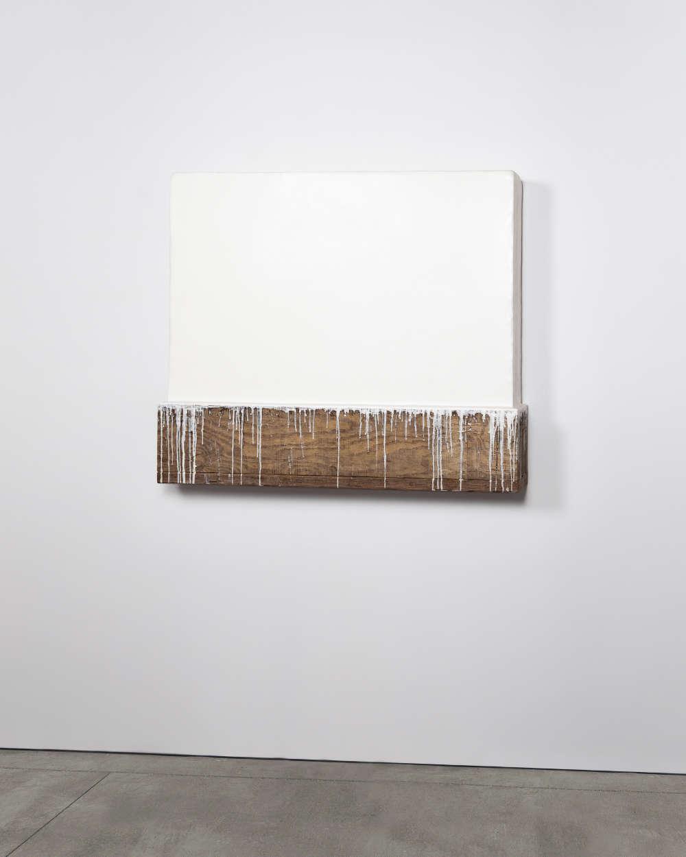 Johannes Girardoni, Dripbox—Titanium White, 2018. Beeswax, pigment and wood 42 x 48 x 9 inches (107 x 122 x 23 cm) © Johannes Girardoni Studio