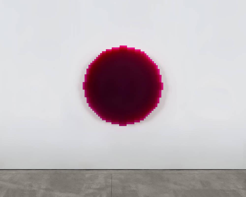 Johannes Girardoni, Resonant—Red Violet, 2018. Resin, pigment, virtual Spectro-Sonic Refrequencer 51 x 51 x 3 1⁄2 inches (130 x 130 x 9 cm) © Johannes Girardoni Studio